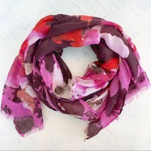 Purple Pink and White Floral Raw Edge Scarf